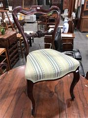 Sale 8882 - Lot 1047 - Set of Six Victorian Rosewood Chairs, with shaped balloon backs, upholstered in a green & blue striped fabric. on cabriole legs