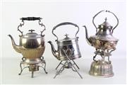 Sale 8931B - Lot 694 - Good Set Of Three Silver Plated Kettles On Stands
