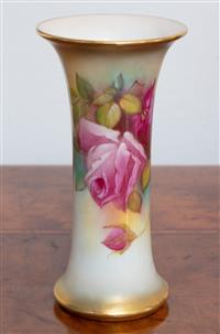 Sale 8963H - Lot 48 - A Royal Worcester beaker shaped vase, painted with roses and signed M. Hunt. Height 15cm