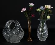 Sale 8985G - Lot 686 - A Cut Glass Basket Bowl Together with A Vase and Another inc Decorative Ceramic Flowers