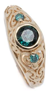 Sale 9046 - Lot 562 - A 9CT GOLD EDWARDIAN STYLE GEMSTONE RING; centring a round cut dark blue green sapphire of approx. 0.60ct adjacent to 2 round brilli...
