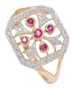 Sale 9160 - Lot 355 - A BELLE EPOCH STYLE RUBY AND DIAMOND RING; cushion form top with pierced quatrefoil motif set with 5 round cut rubies and 4 round br...