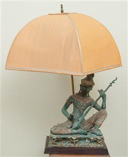 Sale 9164H - Lot 28 - A Thai cast bronze musician figure on wooden base converted into a lamp, total height 68cm