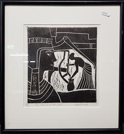 Sale 9208 - Lot 2091 - FREDA WILLING - The Woman at the Well, 1972 22 x 21 c (frame: 41 x 38 x 3 cm)