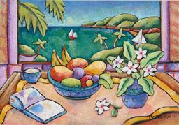 Sale 9216A - Lot 5050 - GRAHAM BOROUGH (1943 - ) Still Life Overlooking Tropical Cove pastel (AF) 63 x 90.5 cm (frame: 100 x 126 x 2 cm) signed lower right
