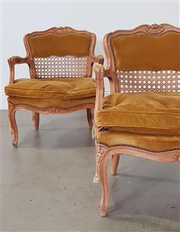 Sale 9240 - Lot 1028 - Pair of rattan & timber French style tub chairs (h77 x w66 x d70cm)