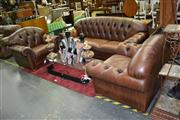 Sale 8115 - Lot 1021 - Brown Leather Buttoned Lounge Setting inc 3 Seater & 2 Armchairs