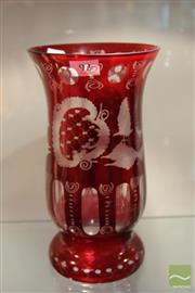 Sale 8217 - Lot 92 - Czech Bohemian Egermann Crystal Ruby Red Vase