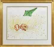 Sale 8274 - Lot 546 - Arthur Boyd (1920 - 1999) - Heads in a Cornfield with Kite, c1968 50 x 61cm