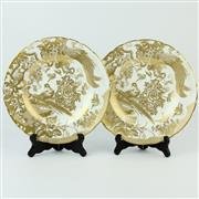 Sale 8356 - Lot 100 - Royal Crown Derby Gold Aves Pair of Plates