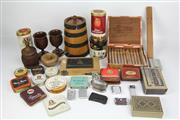 Sale 8419 - Lot 140 - Oak Wine Barrel with Various Smoking Related Items