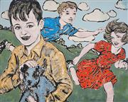 Sale 8450 - Lot 18 - David Bromley (1960 - ) - Children Playing 122 x 152cm (stretched & ready to hang)