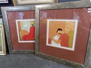 Sale 8441T - Lot 2076 - Pair of Anne Rothenstein framed Decorative Prints