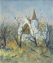 Sale 8459 - Lot 516 - Doreen Gadsby (1926 - ) - Country Church, Tasmania 60 x 50cm