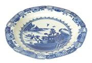 Sale 8471H - Lot 18 - A Chinese blue and white charger, with mountain and river scape design, marks to base, D 40cm