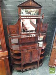 Sale 8485 - Lot 1094 - Victorian Rosewood & Marquetry Parlour Cabinet, the divided mirror back with shelves, above a drawer, pair of doors & further shelves
