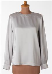 Sale 8550F - Lot 124 - A Louis Feraud long sleeve grey top, with collar and cuffs, size UK 14.