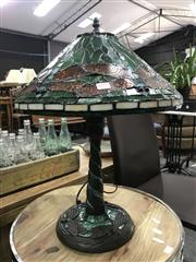 Sale 8787 - Lot 1055 - Leadlight Shade Table Lamp with Dragonflies