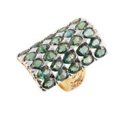 Sale 8857 - Lot 488 - AN 18CT GOLD GREEN SAPPHIRE RING; 30 x 21mm curved rectangular white gold plaque set with 25 oval cut green sapphires to pierced tap...