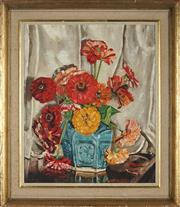 Sale 8936 - Lot 2005 - F.R. Turner Vase of Flowers oil on board, 43.5 x 36cm, signed lower left -