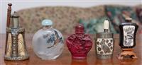 Sale 8963H - Lot 52 - A Group of five Chinese snuff bottles including inside glass painted landscape and horn. Tallest 9cm
