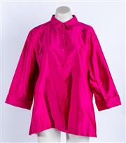 Sale 9010H - Lot 1 - A magenta Simona evening shirt/jacket in Thai silk, unlined, size 16
