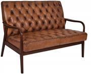 Sale 9010F - Lot 5 - A PAIR OF OLD SADDLE LEATHER BUTTON BACK SOFAS IN SOFT TOP GRAIN LEATHER WITH A MID CENTURY TIMBER SHOW FRAME H:93W:132 D:83cm