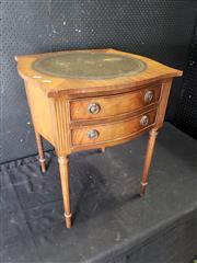 Sale 9014 - Lot 1001 - Regency Style Side Table, the shaped top with tooled green leather panel, two drawers & turned legs  (h:64 x w:53 x d:53cm)