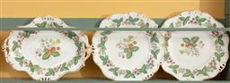 Sale 9120H - Lot 222 - A three piece dessert set comprising of dishes and raised comport with a mixed berry design and gilt borders, blue anchor mark to ba...