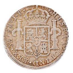 Sale 9130E - Lot 48 - A Charles IV silver eight reales coin of Peru, dated 1808, Diameter 3.9cm, Weight 26.8g