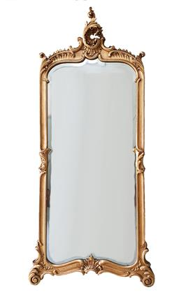 Sale 9135H - Lot 91 - Large antique French dressing room mirror. Carved giltwood and gesso frame with water gilt finish and original bevel glass mirror. O...