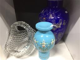 Sale 9152 - Lot 2580 - A cut crystal basket together with two glass vase