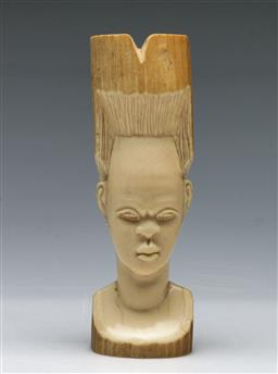 Sale 9164 - Lot 85 - A Carved African Ivory Figure of a Lady bearing Headdress (H:13cm)