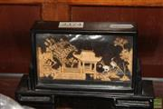 Sale 8236 - Lot 24 - Chinese Carved Cork Landscape in a Glass Clad Timber Casing