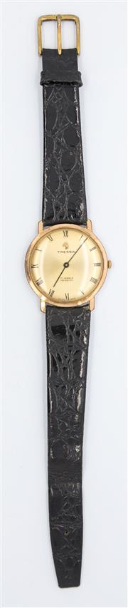 Sale 8265 - Lot 335 - TRESSA AND WALTHAM GENTS WRISTWATCHES; Tressa with gilt dial, Roman numerals on a 17 jewell manual movement, Waltham with applied m...