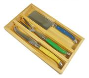 Sale 8285A - Lot 55 - Laguiole by Andre Aubrac 3-Piece Cheese Set w Multi Coloured Handles RRP $70