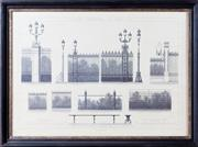Sale 8341A - Lot 16 - An antique style French architectural print, Bois de Bolougne Ports, Grilles, Bancs, 56 x 76cm including frame