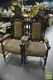 Sale 8380 - Lot 1023 - Pair of Heavily Carved High Back Carver Chairs