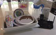 Sale 8471H - Lot 63A - A mixed lot of useful homewares inc; a Uniden XDect digital answering system, kids dining wares, electric can opener, jug, etc