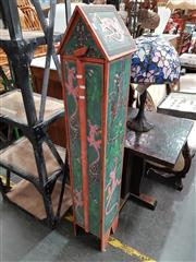Sale 8717 - Lot 1038 - Slim Carved & Painted Timber Cabinet with Lizard Motifs