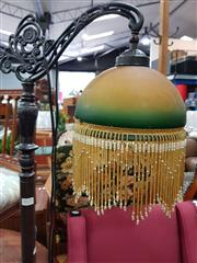 Sale 8745 - Lot 1072 - Hanging Glass Beaded Shade Standard Lamp