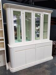 Sale 8843 - Lot 1007 - Large White High Gloss Bookcase with Mirrored Back and Glass Shelves (2)