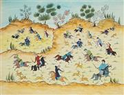 Sale 8907 - Lot 596 - Persian School (Zolfaghari) - Polo Game & Hunting Scene 34 x 44 cm