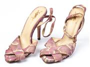 Sale 9027F - Lot 43 - A pair of purple YSL strappy stiletto heels, size 38.