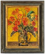 Sale 8976H - Lot 81 - A Martelly/Martetiti (20th Century Red Flowers in Jug) oil on canvas SLR 49x39cm