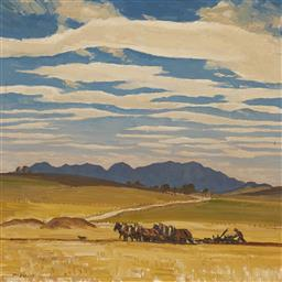 Sale 9170 - Lot 577 - MAX RAGLESS (1901 - 1981) Ploughing Fields, 1944 oil on canvas 62 x 62 cm (frame: 76 x 76 x 6 cm) signed lower left