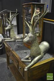 Sale 8227 - Lot 1011 - Pair of Cast Alloy Stags