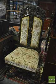 Sale 8380 - Lot 1035 - Heavily Carved Highback Chair with Floral Upholstery
