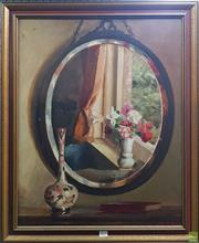 Sale 8600 - Lot 2019 - Bertram Bryning - Interior Scene Reflections, oil on board, 69.5 x 54.5cm,