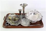 Sale 8931B - Lot 657 - Oak Butlers Tray With Various Silver Plated Wares Incl Dishes, Bud Vases, salts and Coasters